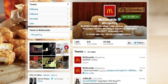 On Feb. 18, 2013, Burger King's Twitter account was hacked garnering national media coverage and the ire of brand followers.