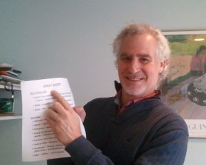 Gary and his trusty cheat sheet. Notice how big the font is? That makes it easier to read at a glance.