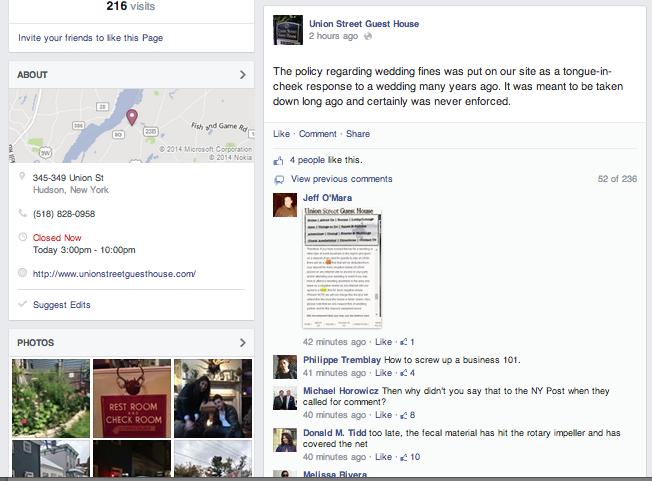Since this firestorm hit mainstream media, the inn's Facebook page has been inundated with negative posts.